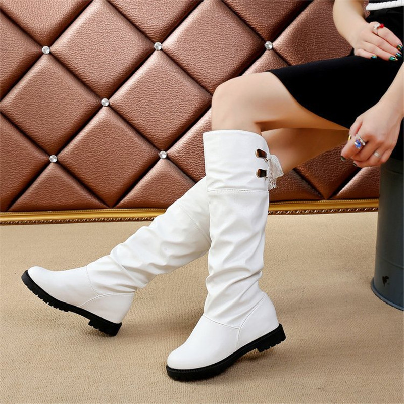 07ada07f5 Moda Redonda De Cuero Las Botas Mujeres 40 blanco Slip De becerro Zapatos  Nieve Mediados El Mujer Casual Pu ...