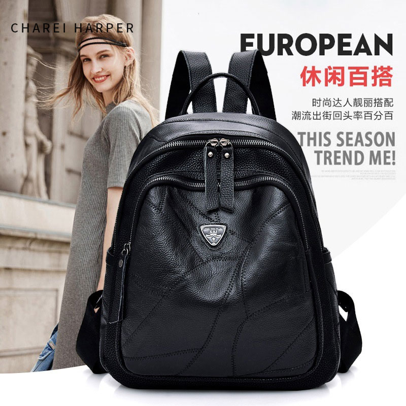 First layer leather backpack new fashion stitching backpackFirst layer leather backpack new fashion stitching backpack