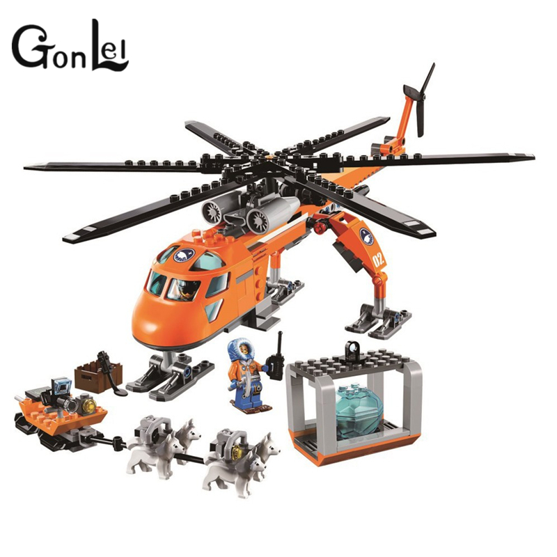 GonLeI Bela 10439 273pcs City Arctic Helicrane Helicopter Building block toys compatible with Lepin for Chindren toy kids toys bela 10439 compatible lepin city arctic helicrane building blocks policeman figure toys for children girls
