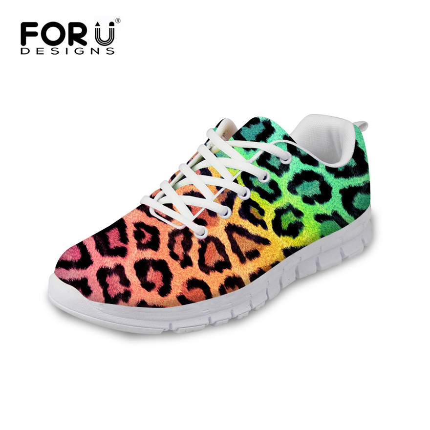 ФОТО FORUDESIGNS Women 3D Leopard Print Shoes Breathable Flats,Casual Female Lace up Shoes High Quality Lady Zapatos Mujer Deportivas