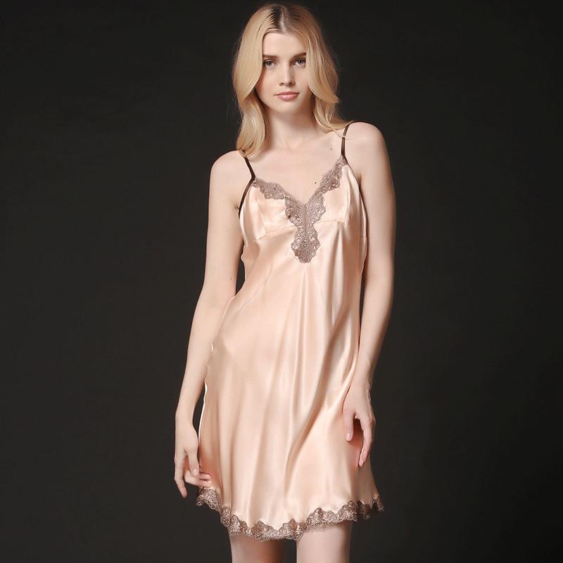 The New Summer 100% Silk Nightdress Sexy V Collar Silk nightgown
