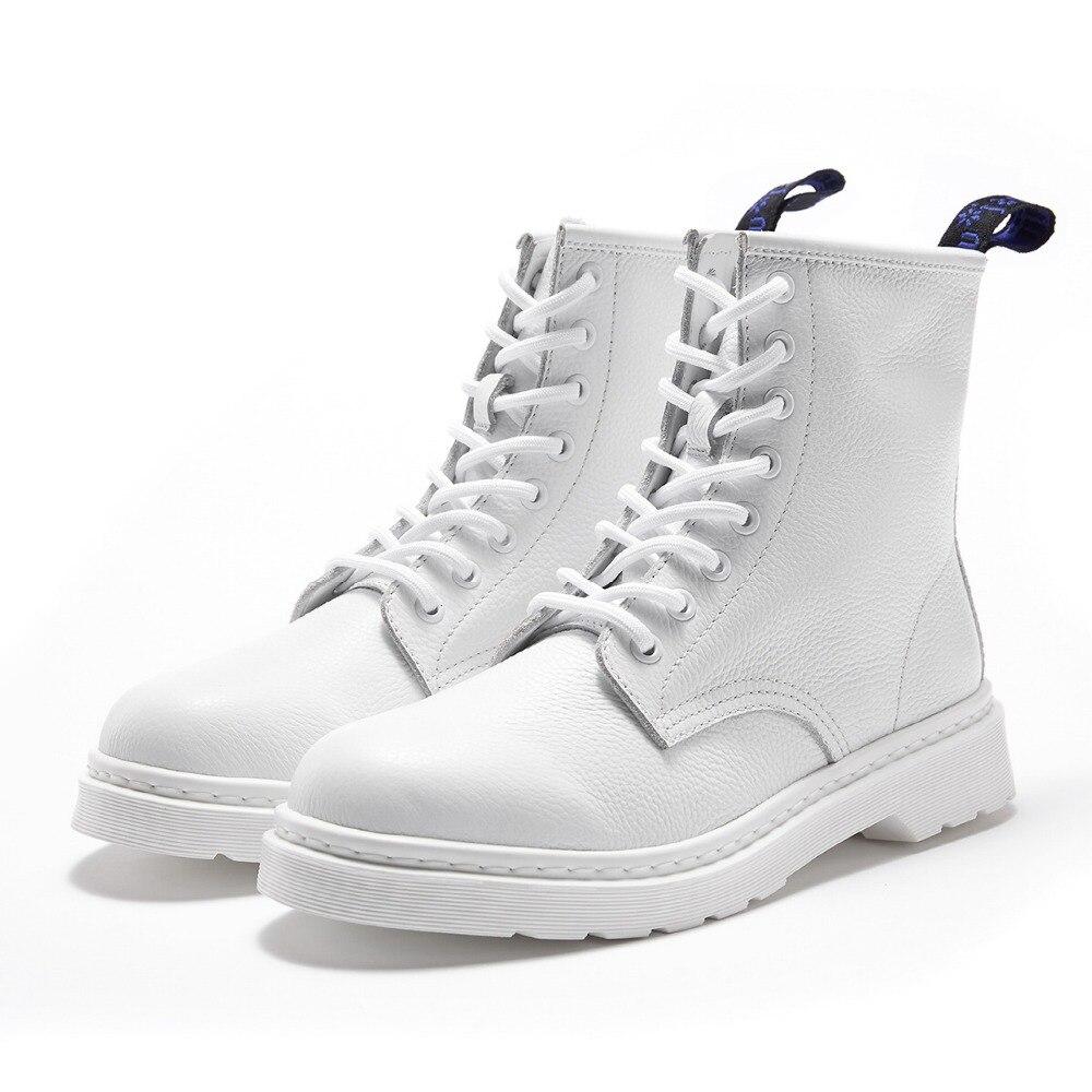 Mode Chaussures Printemps Noir Pour Bottes Nouvelle Cuir Hommes Automne blanc VéritableHomme Bottines Delivr Martins Décontracté angleterre Botte gIfv6yY7b