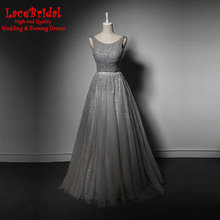 Dubai Luxus Eine Linie Graue Wulstige Abendkleider 2016 mit Perlen Sexy Backless Abschlussball-kleider Formal robe de soiree TE86