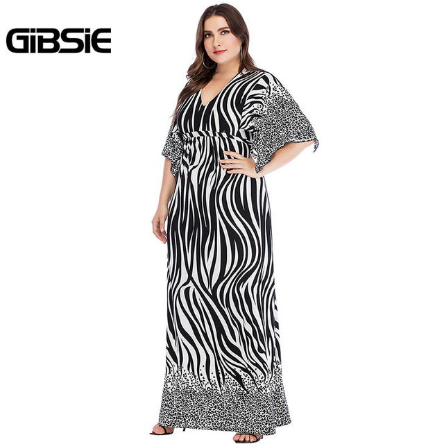 GIBSIE Zebra Print Summer Women Long Maxi Dresses 2019 Elegant Plus Size V Neck Tie Waist Casual Party Fit and Flare Dress 3