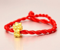 Fashion Arrival 3D 999 24K Yellow Gold 12 Chinese Zodiac Cute Dragon Knitted Bracelet