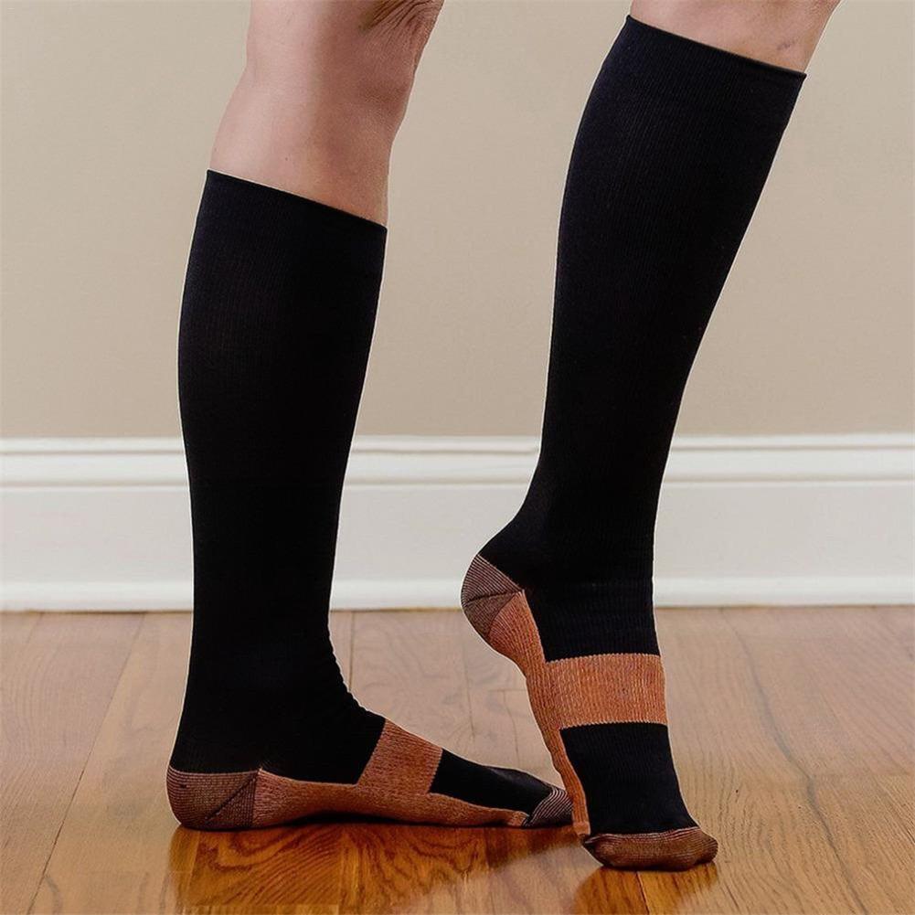 Unisex Compression Stockings Pressure Nylon Varicose Vein Stocking Knee High Leg Support Stretch Pressure Circulation Stock M/L