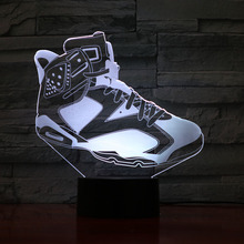 Basketball Shoes Jordan Men Night Light Led 3D Illusion Decor RGB Boys Kids Baby Gifts Table Lamp Bedside Air 6 Sneakers