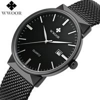 Men Watch WWOOR New Top Luxury Brand Men S Watches Ultra Thin Stainless Steel Mesh Band