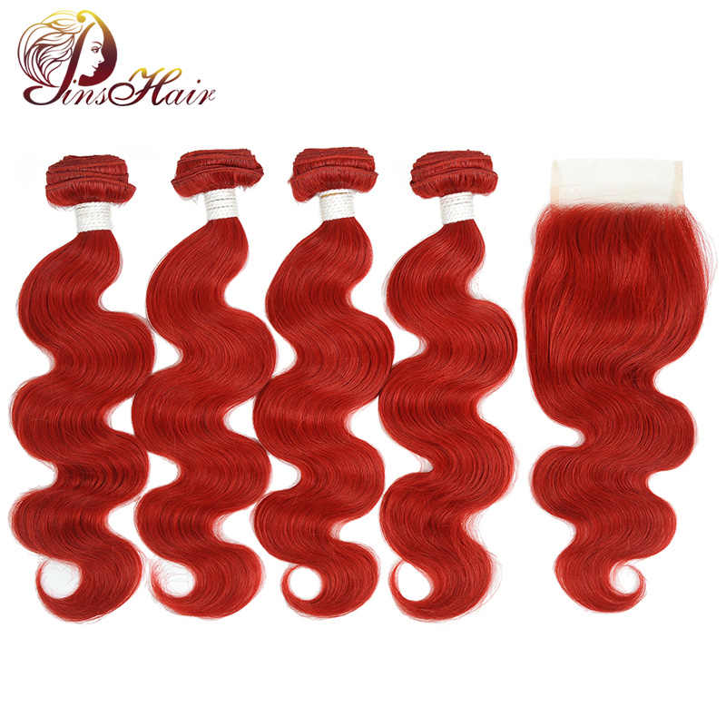 Pinshair Hair Body Wave 4 Burgundy Bundles With Closure Colored Red Peruvian Hair Weave Bundles With Closure Non Remy Extension