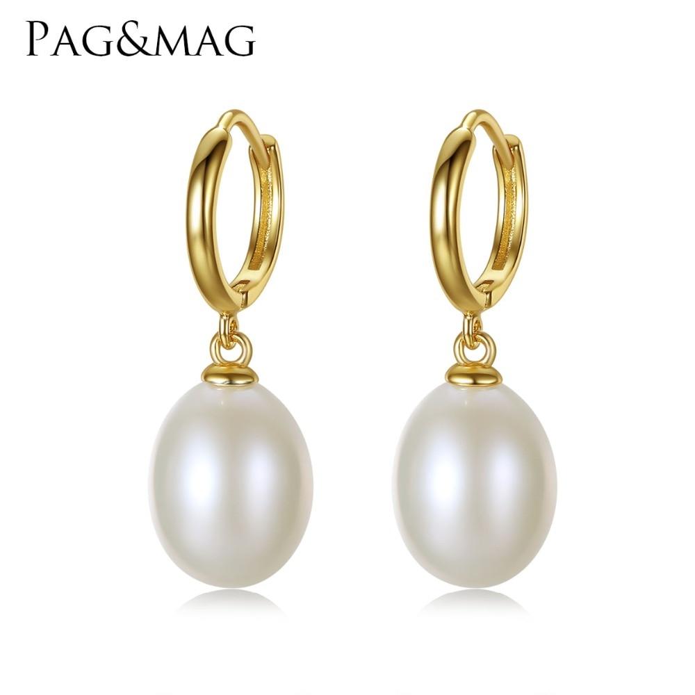 PAG & MAG prekės ženklo 925 sidabro papuošalų klipas auskarai moterims 10-11mm Rice Pearl Clip auskarai didmeninės dovanų dėžutės nemokamai