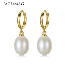 PAG MAG Brand 925 Sterling Silver Jewelry Clip on Earrings for Women 10 11mm Rice Pearl