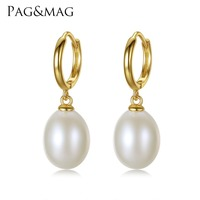 PAG MAG Brand 925 Sterling Silver Clip On Earrings For Women 10 11mm Rice Pearl For