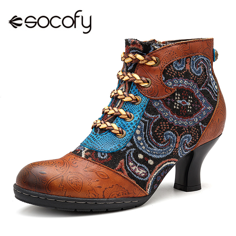 Socofy Retro Splicing Genuine Leather Winter Boots Women Shoes Woman Autumn 2018 Vintage Heels Ankle Boots For Women Botas MujerSocofy Retro Splicing Genuine Leather Winter Boots Women Shoes Woman Autumn 2018 Vintage Heels Ankle Boots For Women Botas Mujer
