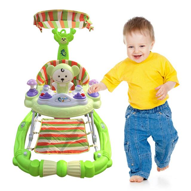 Nueva Llegada Del Bebé Walker Seguridad Mano Empuje Juego Infantil Asiento Rueda Muda Niño Sombrilla Divertido Musical Mecedora Caballo
