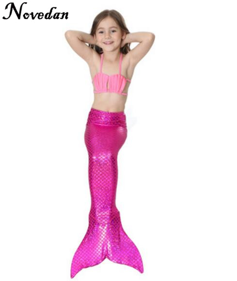 New 2018 Girls Kids Mermaid Tail Bikini Bathing Suit Fancy Swimmable Wear Cosplay Costumes Children Swimwear Clothing Set