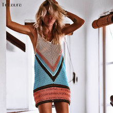 2019 New Sexy Beach Cover Up Bikini Crochet Knitted Swimwear Summer Beach Wear Hollow Out Swimsuit Cover Up Beach Dresses(China)