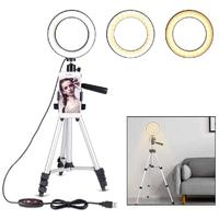 Yiwa 5.7 Dimmable LED Ring Light with Stand for Makeup Phone Camera Selfie Camera Table Tripods