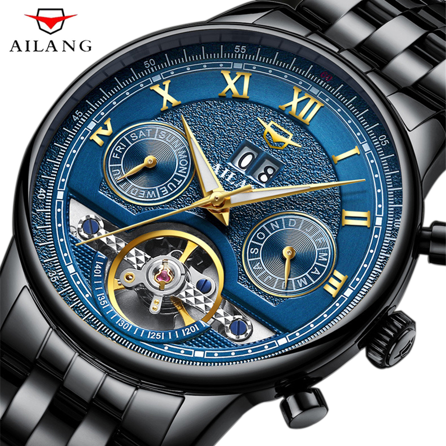 AILANG Top Brand Luxury Men's Sports Watches Men 50m Waterproof mechanical Watch Man Full Steel Military Automatic Wrist watch men watches lige top brand luxury men s sports waterproof mechanical watch man full steel military automatic wrist watch relojes