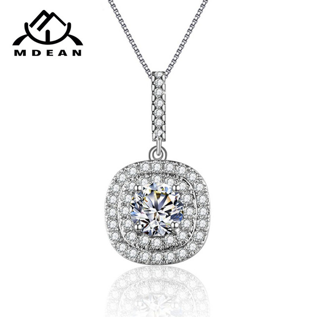 MDEAN Vintage Wedding Chain White Gold Color Clear AAA Zircon Jewelry For Women