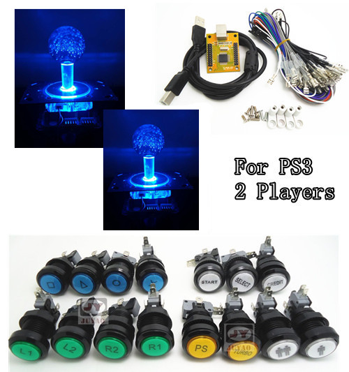 1 kit of NEW VERSION 5V LIGHTING 2 players PC PS 3 2 IN 1 Arcade to USB controller 2 player MAME Multicade Keyboard Encoder arcade mame diy kit for 2 players pc ps 3 2 in 1 to joystck led button with icons interface usb 2 player mame interface