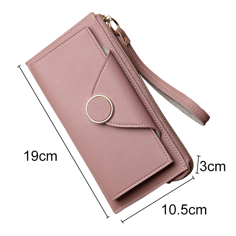 Women Long Wallet  PU Leather Coin Pouch Billfold Card Holder Purse Zipper Money Clip Clutch Bag -OPK
