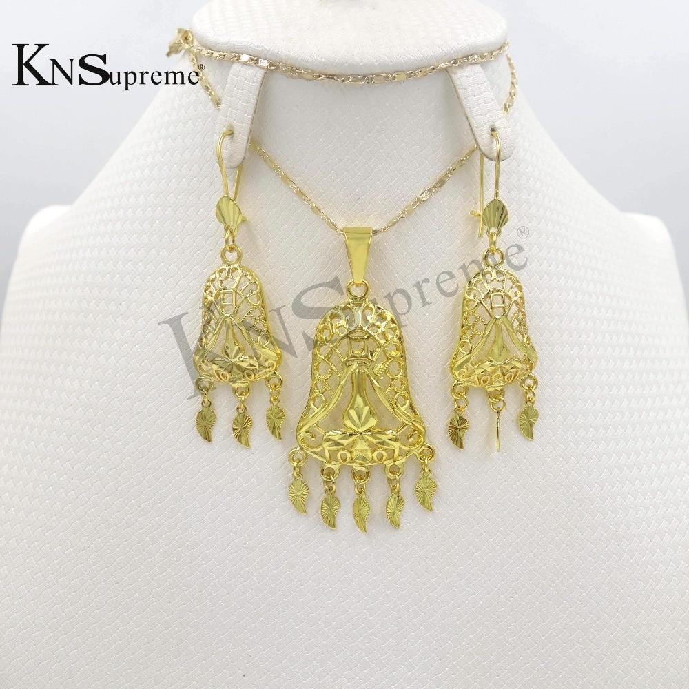 1a3b2a70ca46 Moda nupcial de la boda Dubai de oro de color joyería Africana conjunto de  oro de color de las mujeres colgante Collar Pendientes Juegos de joyería