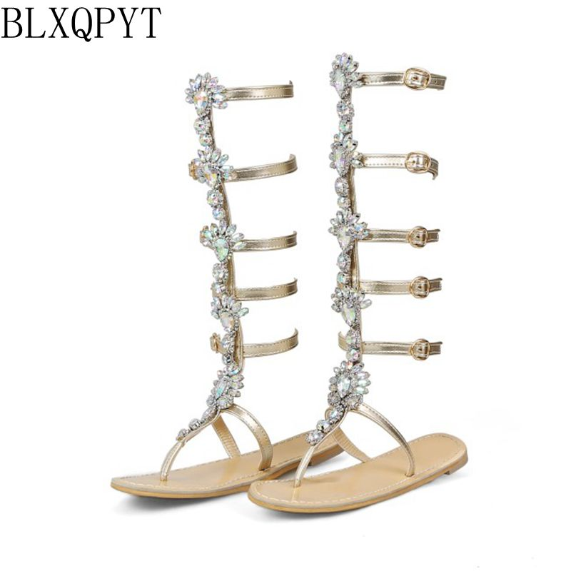 ba79b56622c4f2 Detail Feedback Questions about BLXQPYT Plus Size 50 tenis feminino Sandals  Shoes woman Rhinestones Chains Thong Gladiator Flat Sandals Crystal  Chaussure ...