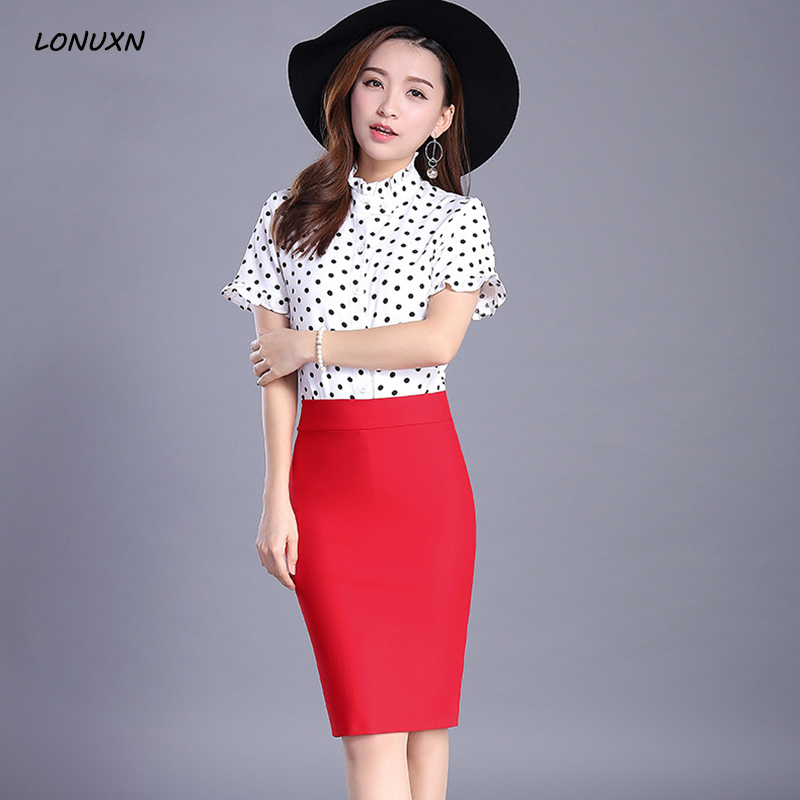 high quality Spring summer new style Slim fit work wear Female High waist stretch skirt Sexy girl A-line Solid color package hip