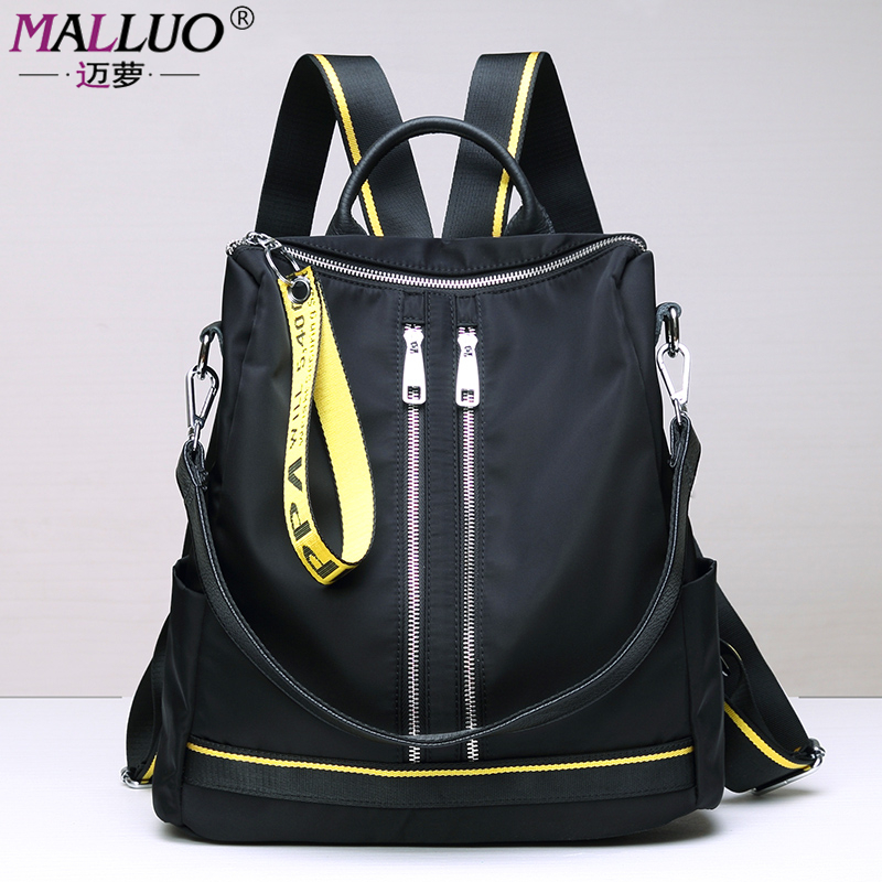 MALLUO Backpacks Oxford With Genuine Leather Backpack Waterproof Bag For Teenage Travel or Work High Quality School Bag New Tote travel oxford tinfoil insulated cooler thermal picnic lunch bag waterproof tote lunch bag for kids adult popular