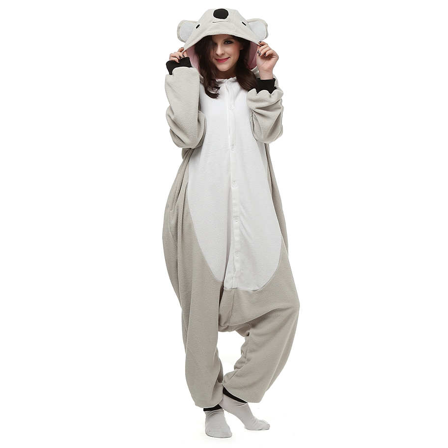 Adults Polar Fleece Kigurumi Anime Cosplay Costume Grey Koala Animal Onesie Pajama Halloween Carnival Masquerade Party Jumpsuit