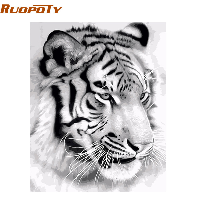 RUOPOTY Canvas Painting Numbers Wall-Art-Picture Tiger-Animals Acrylic Home-Decoration
