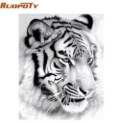 RUOPOTY рамка тигр животные DIY живопись по номерам стены Искусство картина акриловая Картина на холсте для украшения дома Прямая доставка