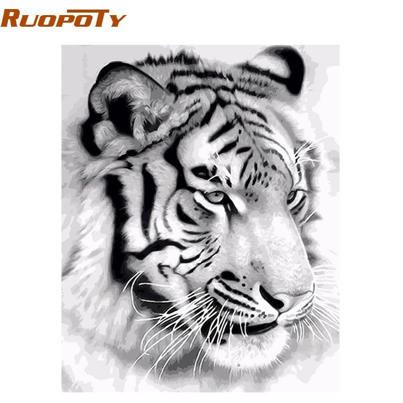 RUOPOTY Tigre marco animales DIY pintura por números arte de la pared cuadro lienzo de pintura acrílica para la decoración del hogar de la gota