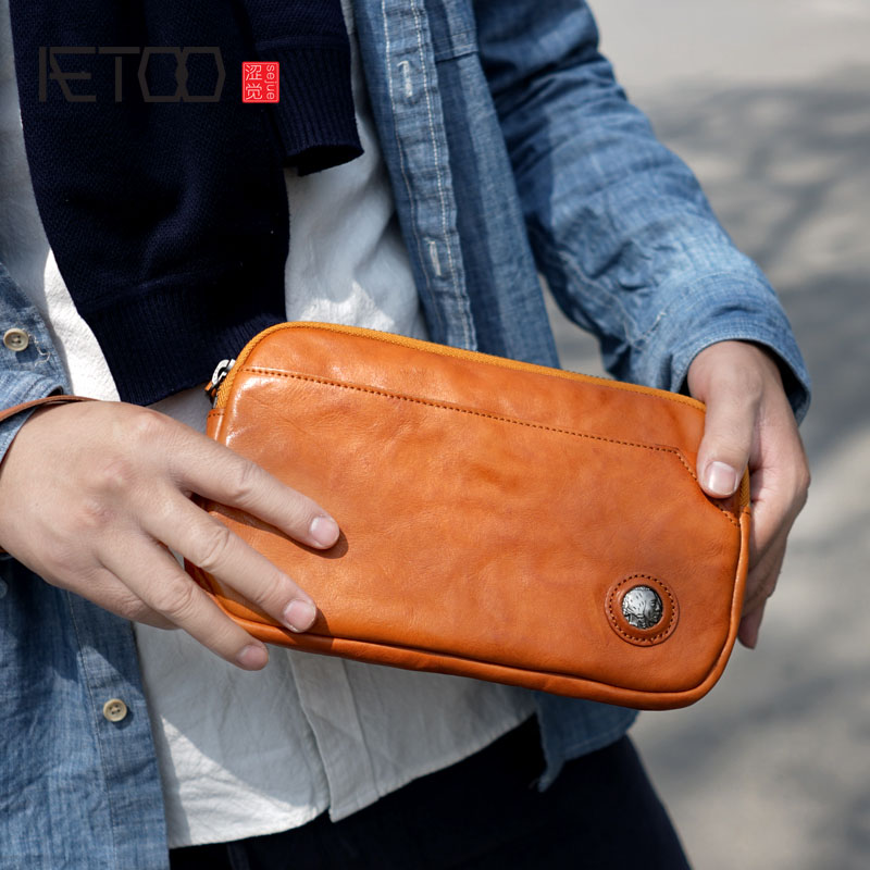 AETOO Vintage hand set hand leather leather mens models womens old wind clip bag large capacity clutch bag wallet phone bagAETOO Vintage hand set hand leather leather mens models womens old wind clip bag large capacity clutch bag wallet phone bag