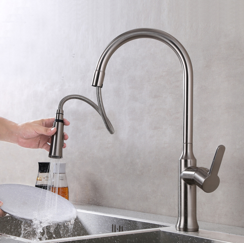 Free shipping Pull out Spray Kitchen Faucet Mixer Tap stain Brushed Nickel basin sink mixer tap