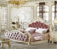 Твердая деревянная кровать Мода Европейский Французский Резные прикроватные 1.8 м мебель для спальни 6747