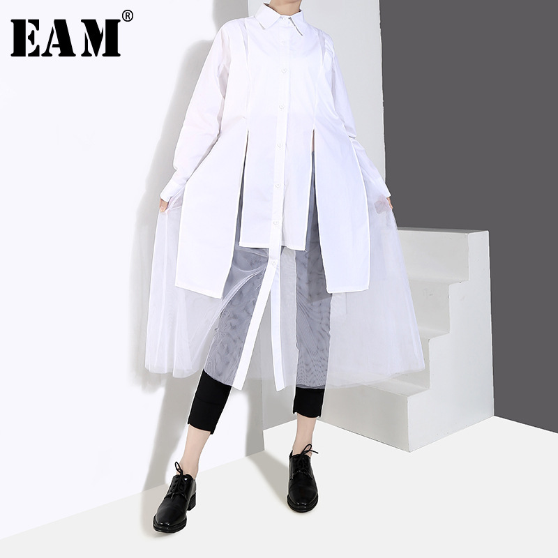 [EAM] 2019 New Autumn Winter Lapel Long Sleeve White Loose Irregular Hem Mesh Stitch Shirt Dress Women Fashion Tide JQ425