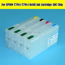 цена на T7911 Refillable Ink Cartridge With ARC Chip For Epson T7911 - T7914 WF -4630/4640/5110 5190/5620/5690 Printer