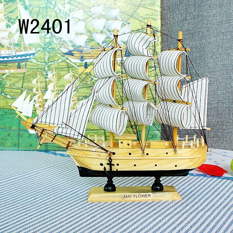 Solid Sailboat Model Nautical Decor Living Room Toy Gifts Crafts Wood Sailing Ship