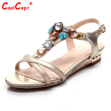 women real genuine leather bohemia slippers summer party flat sandals sexy fashion brand heeled ladies shoes size 34-39 R6125