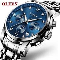 OLEVS Luxury Chronograph Men Watches Top Brand Luminous Dial Steel Bracelet Watchband Male Clock Date Business