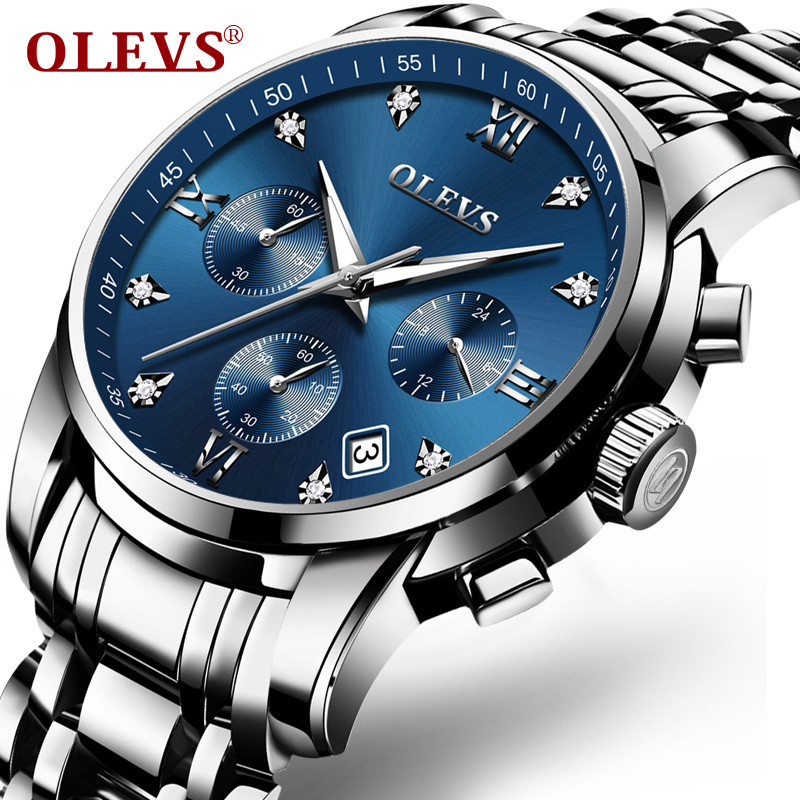 OLEVS Luxury Chronograph Men Watches Top Brand Luminous Dial Steel Bracelet Watchband Male Clock Date Business Wristwatches 2858