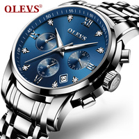 OLEVS Luxury Chronograph Men Watches Top Brand Luminous Dial Steel Bracelet Watchband Male Clock Date Business