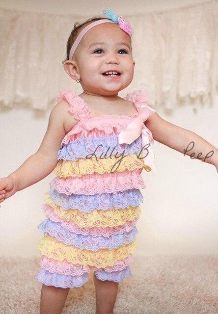 ec2e1d2d9d1 Light Pinl Blue Yellow Ruffle Lace Romper-Baby Petti Lace Romper-Newborn  Outfit-Baby Clothes