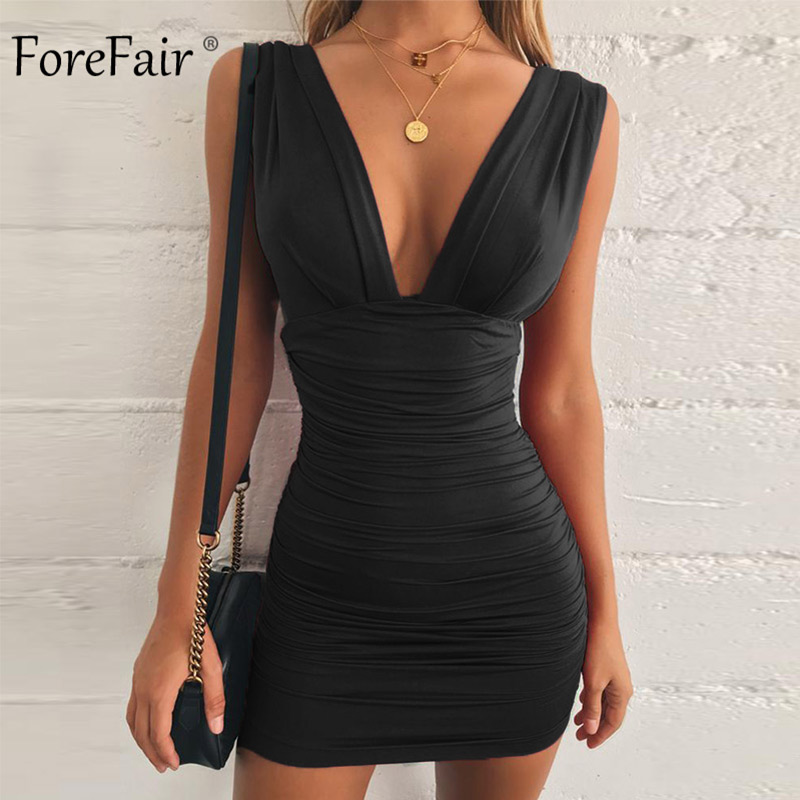 Forefair Off Shoulder Sexy Mini Bandage Dress Women Red Black Backless  Ruched Wrap Bodycon Party Club 02f7f740bdc9