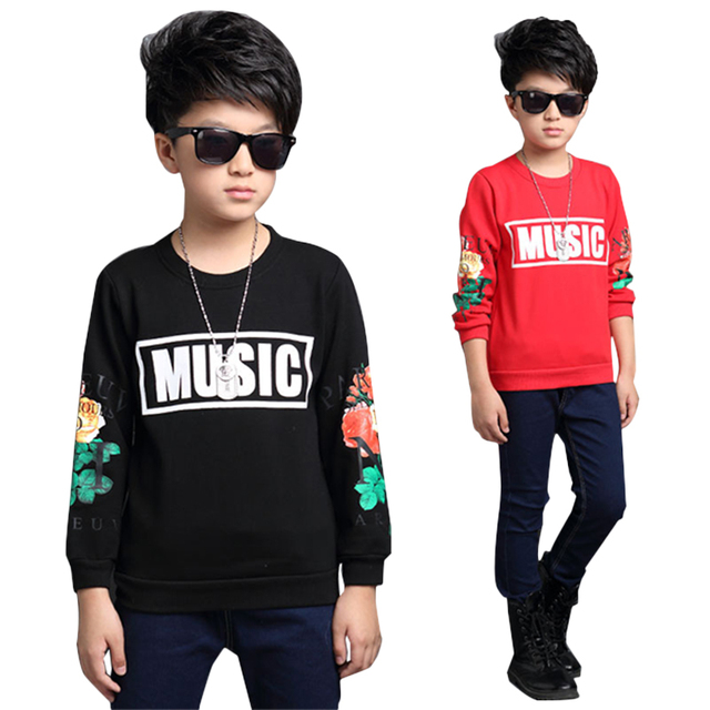 Teenager Cotton Tees for Boys Floral Tops Kid O-neck T Long Sleeve Children T-shirts Brand Clothing 6 8 9 15 Year Infant Clothes