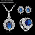 ANFASNI Latest Style Jewelty Sets Silver Color AAA Cubic Zircon Necklace/Earring/Ring Set Ring Size Options ST0016-B