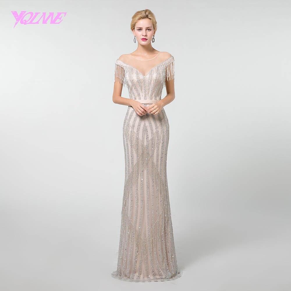 YQLNNE Luxury Tassel Beading Evening Dress 2019 Illusion Mermaid Women Party Dress Zipper Back Pageant Dresses