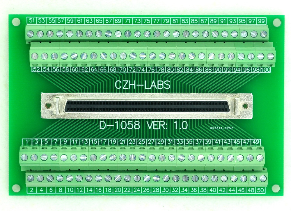 "100-pin demi-pas/0.05 ""D-SUB carte de rupture femelle, DSUB, SCSI, Module Terminal"
