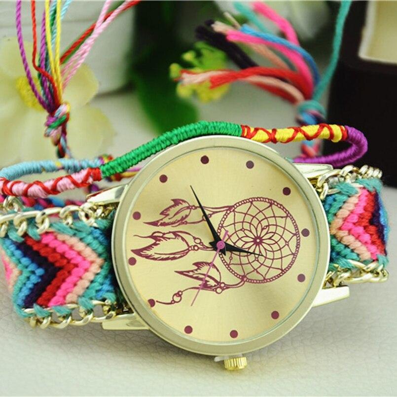 Excellent Quality Vintage Women Watch Native Handmade Quartz Watch Knitted Dreamcatcher Friendship Watch Relojes Mujer